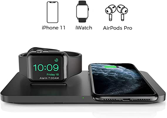 Wireless Charger, Seneo 2 in 1 Dual Wireless Charging Pad with iWatch Stand for iWatch 5432, 7.5W Qi Fast Charger for iPhone 1111 Pro MaxXRXS