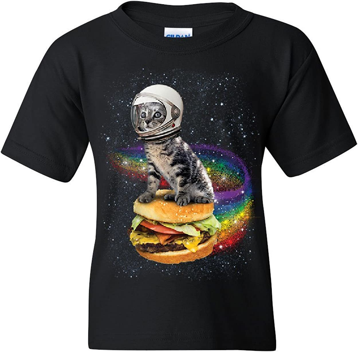 Cat Flying a Rainbow Burger Youth T-Shirt Funny Astronaut Kitten Space Kids Tee