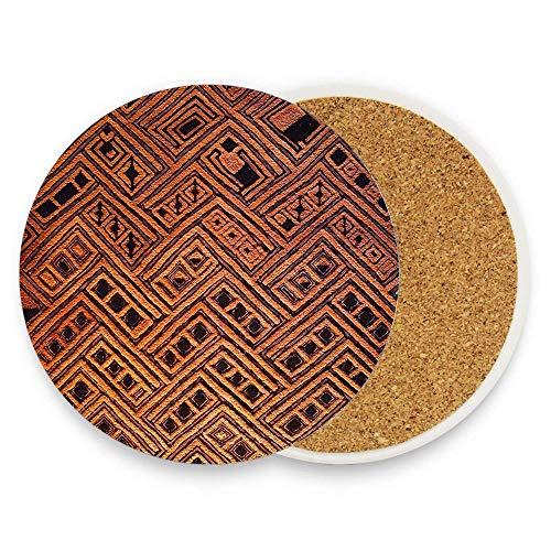 (Jugbasee Raffia Kuba Pattern 4 Ceramic Coaster for Drinks 4