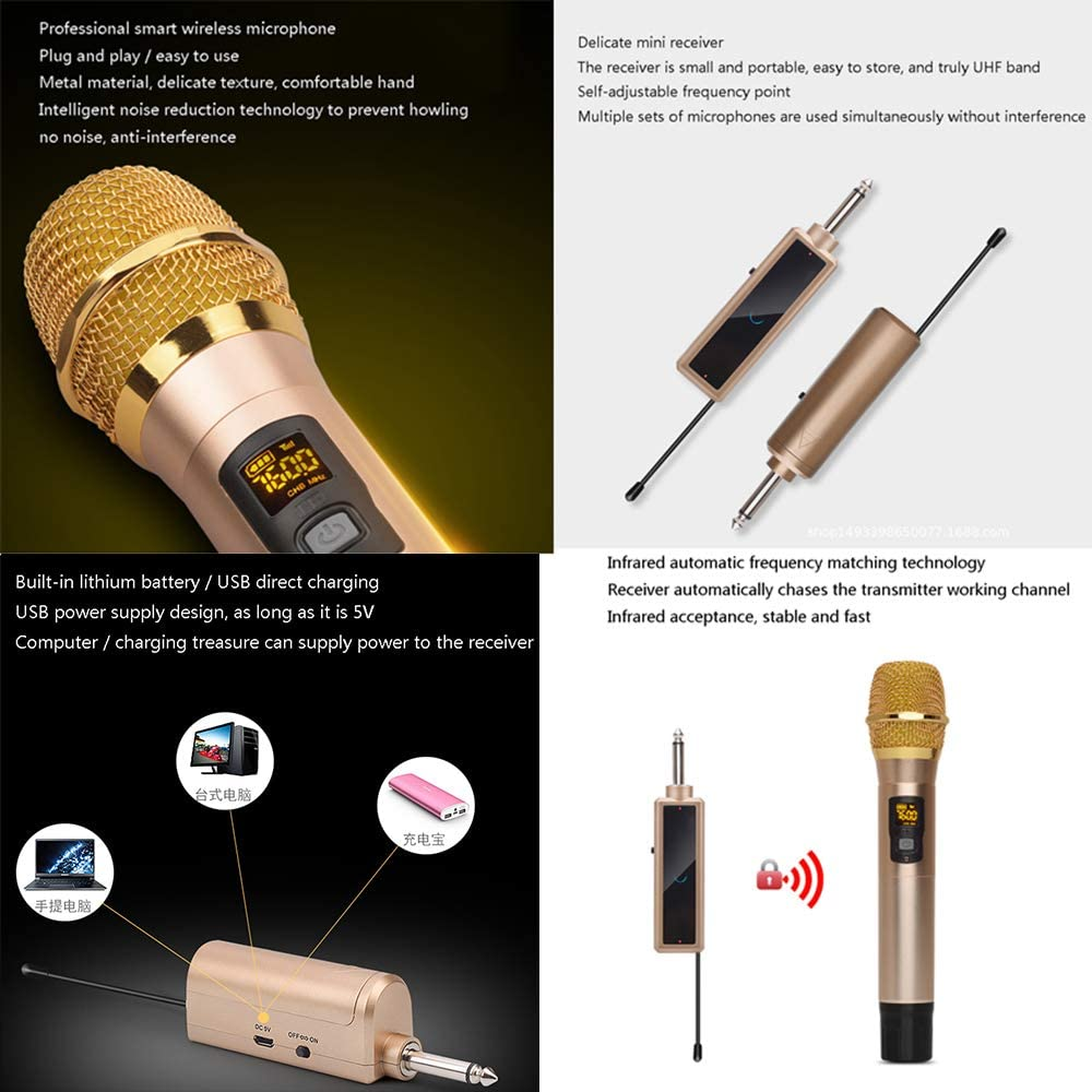 Suitable for Computer K Song Home Microphone Conference Performance ZDDAB Portable UHF Wireless Microphone electronic product Metal Microphone