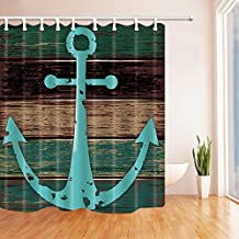 Anchor Decor Shower Curtains By KOTOM Anchor Painting on Wood Boards Bath Curtains, 69X70 Inches