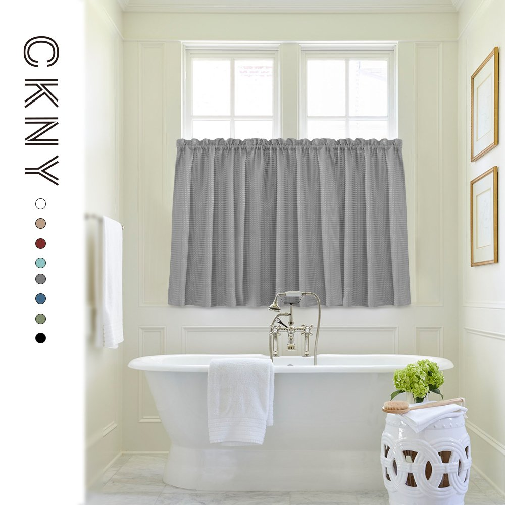Waffle Weave Half Window Curtains for Kitchen/Bathroom Window Treatment Tiers Set (72-by-45 Inch Long, Grey, One Pair) by jinchan (Image #3)