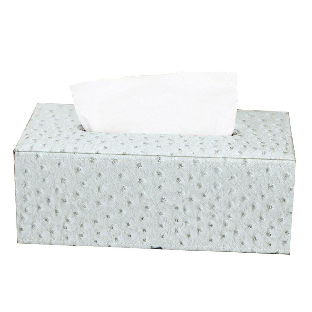 Upscale Leather Facial Tissue Box Cover Paper Napkin Box Dispenser for Home Office Car Decor , C
