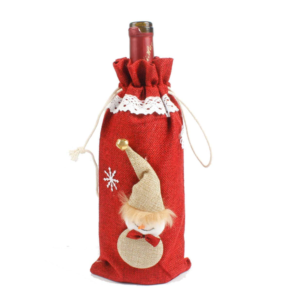 Xeminor Creative Christmas Wine Bottle Set Gift Bag Home Table Decorationsred