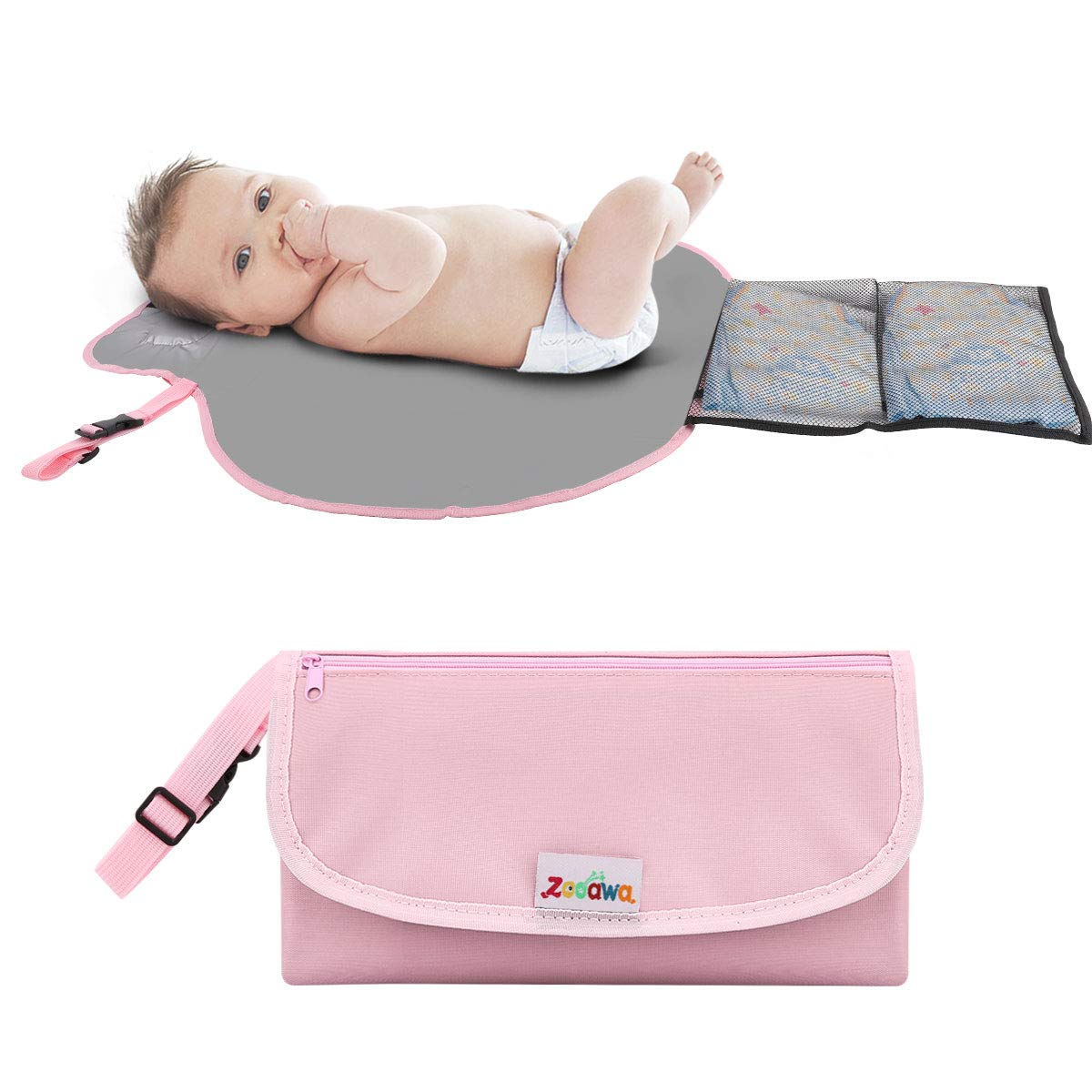 Zooawa Portable Diaper Changing Pad Mat Waterproof Folding Station Clutch Travel Carrying Bag for Baby Infants