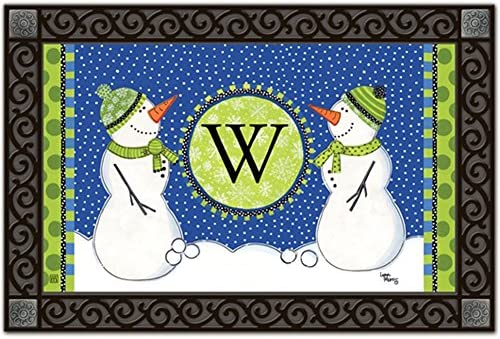 Magnet Works Winter Frolic W Monogram MatMates Doormat 11269W