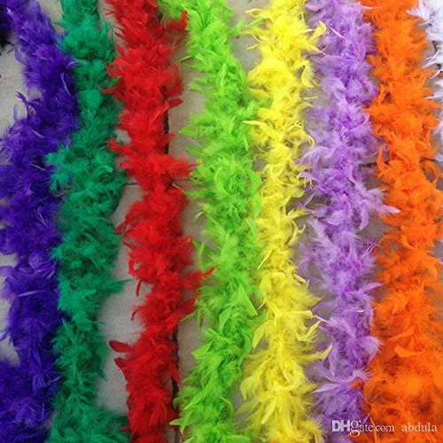 80's Costumes Diy (10 Pieces of Cheap Feather Boas 40g/pcs 2M Thicken Feather Boa 80'' Long Deluxe Feather Boa Wedding Party DIY Craft Decoration Costume Dress UP)