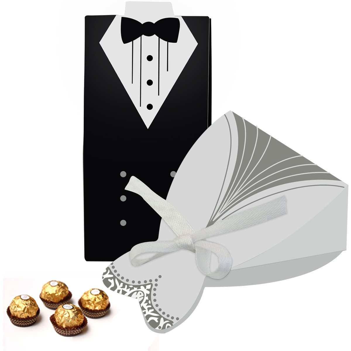cnomg 100pcs Party Wedding Favor Dress Tuxedo Bride and Wholesale ...