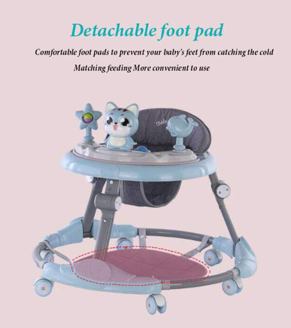 6 Heights Adjustable ATGL Baby Lauflernhilfe Multifunktions- Folding Lauflernhilfe Prevent O-Beine Anti-Rollover F/ür 6-18 Monate Baby Mit Abnehmbarer Musik Fach