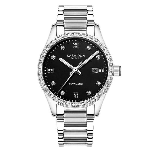 Reloj mecánico automático Señora/Moda acero reloj/ cuadro luminoso impermeable mujer-D: Amazon.es: Relojes