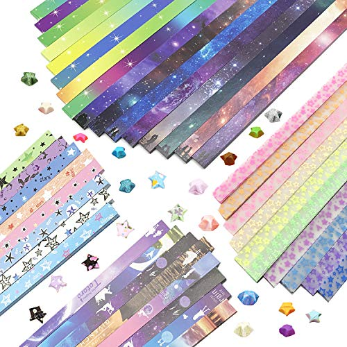 Wartoon Moon Starry Sky Pentagram Origami Stars Paper and Luminous Starry Sky Paper Set, 1880 Sheets (Paper Lucky Stars)