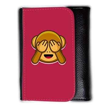 Cartera para hombre // Q05200615 Emoji monkey 4 Brillante Marrón // Medium Size Wallet: Amazon.es: Electrónica