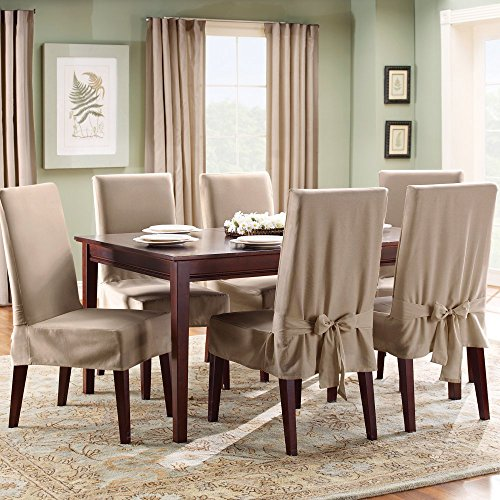 Sure Fit Duck Solid - Shorty Dining Room Chair Slipcover - Linen (SF21084)