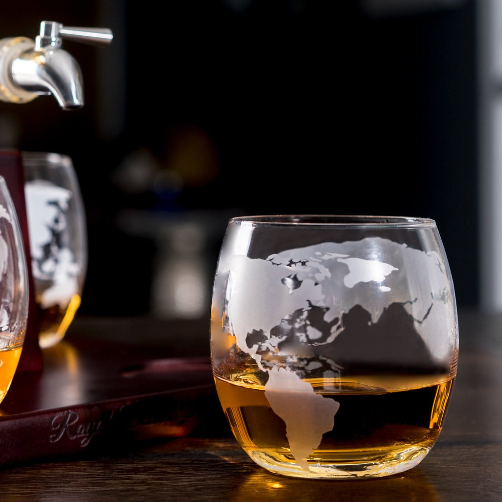 Sailing Ship Whiskey Decanter - Makes a Great Gift! Stainless Steel Spigot Liquor Dispenser - 4 Etched World Map Glasses - for Brandy Tequila Bourbon Scotch Rum -Alcohol Related Gifts for Dad (1000ML) by Royal Decanters (Image #6)