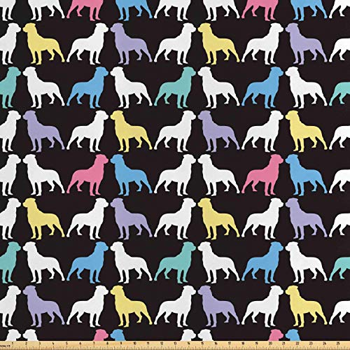 Lunarable Rottweiler Fabric by The Yard, Colorful Silhouette of Dogs Pet Lovers Abstract Pop Art Style Graphic, Decorative Satin Fabric for Home Textiles and Crafts, 10 Yards, Multicolor
