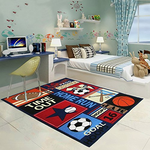 HUAHOO Fun Sport Kids Rugs Nylon Carpet Soccer Baseball Football Basketball with Multi-Color for Boy Girl Playroom (130 x 190cm(51'' x 75''))