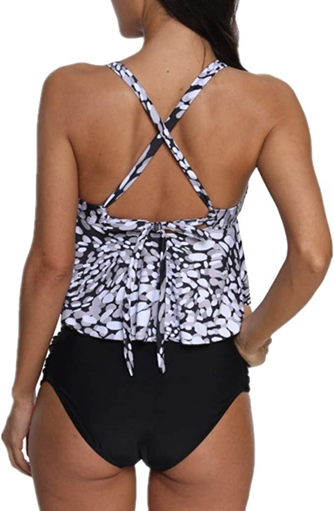 Tummy Control Tankini for Women,Jchen Ladies Swimsuits Plus Size Leaves Print Tankini Tops with Shorts Bathing Suits