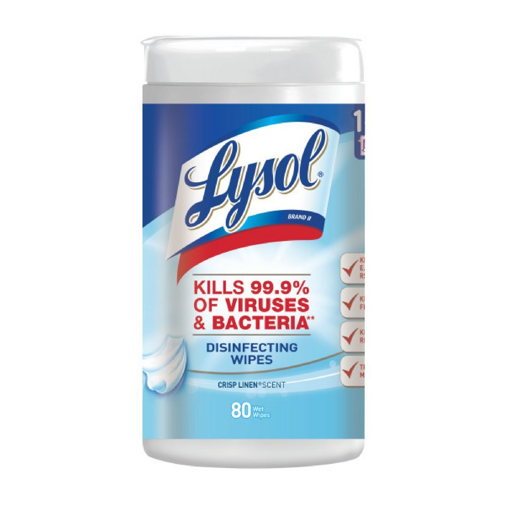 Lysol Disinfecting Wipes, Crisp Linen, 80 Count (Pack of 7) by Pharmapacks (Image #1)