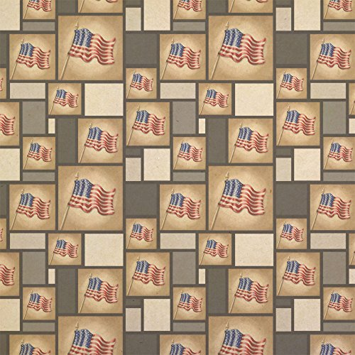 (Vintage American Flag Kraft Present Gift Wrap Wrapping Paper)