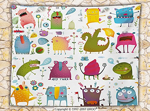 Funny Decor Fleece Throw Blanket Cute Cartoon Monsters Kids Design &quotLets Dance