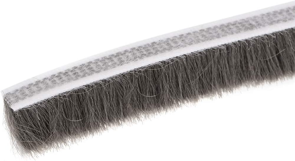 Sourcingmap 190 cm de largo x 0,6 cm de ancho adhesivo de fieltro para puerta o puerta Cepillo para eliminar el clima para puerta o ventana 5000 mm x 15 mm color gris