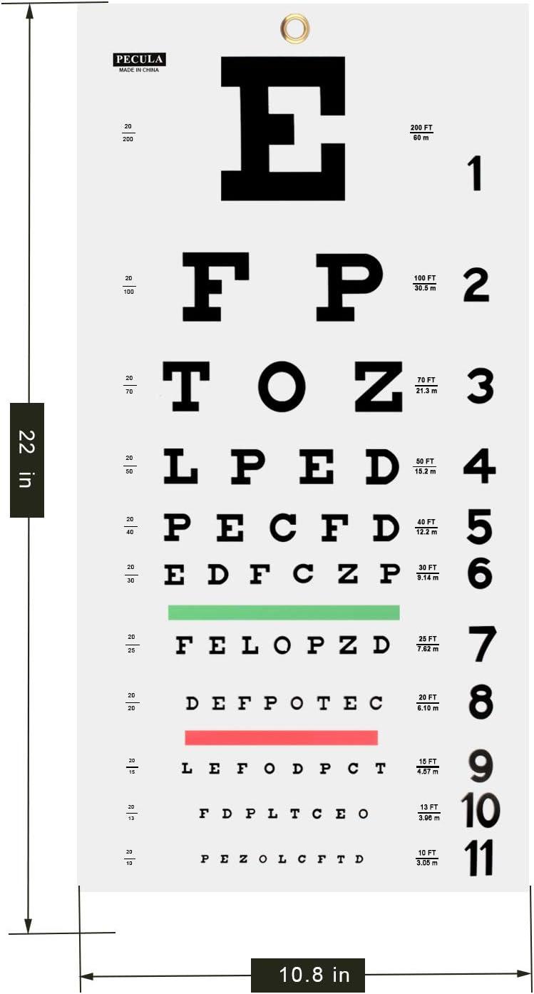 Snellen Eye Chart Eye Charts for Eye Exams 20 feet 11 X 22 in. Wall Chart Eye Chart
