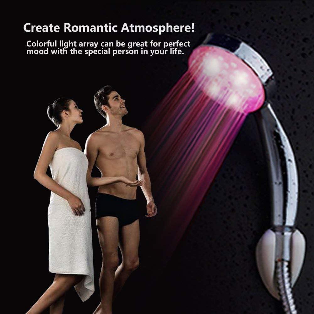 pomme de douche haute pression /à changement automatique de 7 couleurs sans pile Pommeaux de douche /à main pour salle de bains Pomme de douche /à LED avec changement de couleur chrome