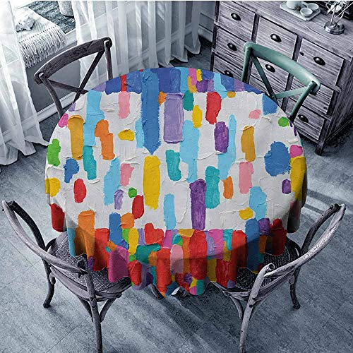 - Sumilace Art Non-Iron Round tablecloths Colorful Abstract Painting Style in Contrasting Colors French Flag Pattern Brush Mark Indoor Outdoor D39 Inch Multicolor