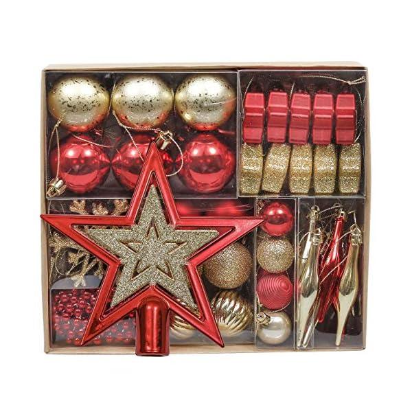 Valery Madelyn Palle di Natale 52 Pezzi di Palline di Natale, 3-5 cm Rosso e Oro Infrangibile Ornamenti di Palla di Natale Decorazione per la Decorazione Dell'Albero di Natale 1 spesavip