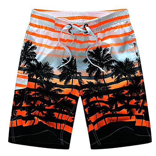 Newland Men's Colorful Stripe Coconut Tree Beach Shorts Swim Trunks Orange 37-38 waist