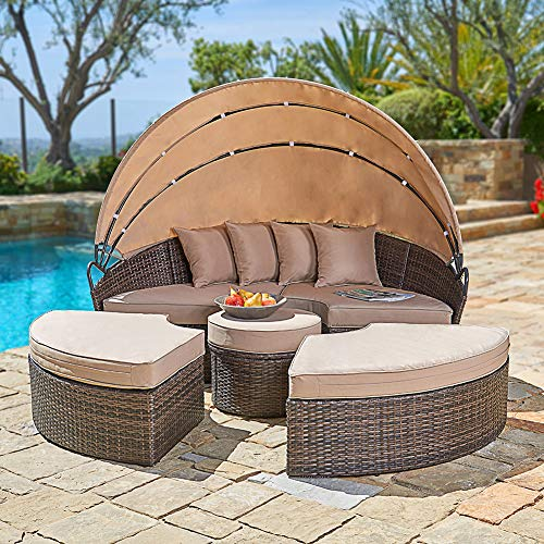 (SUNCROWN Outdoor Patio Round Daybed with Retractable Canopy, Brown Wicker Furniture Clamshell Sectional Seating w/Washable Cushions, Patio, Backyard, Porch, Pool)