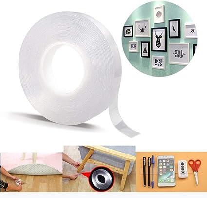 Cinta m/ágica multiusos de agarre nano reutilizable extra/íble lavable doble cara tiras adhesivas sin costuras soporte de cocina-5cm x 3m