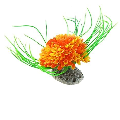 uxcell hoja Accent Flores de plástico acuario plantas adorno, Verde/Naranja