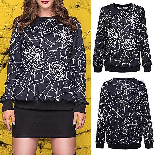 Pallamano Halloween da Scary Felpa Lunghe Spider 3D Magliette da Donna Donna Web Maniche a Abbigliamento Nero w7ES4Sqt