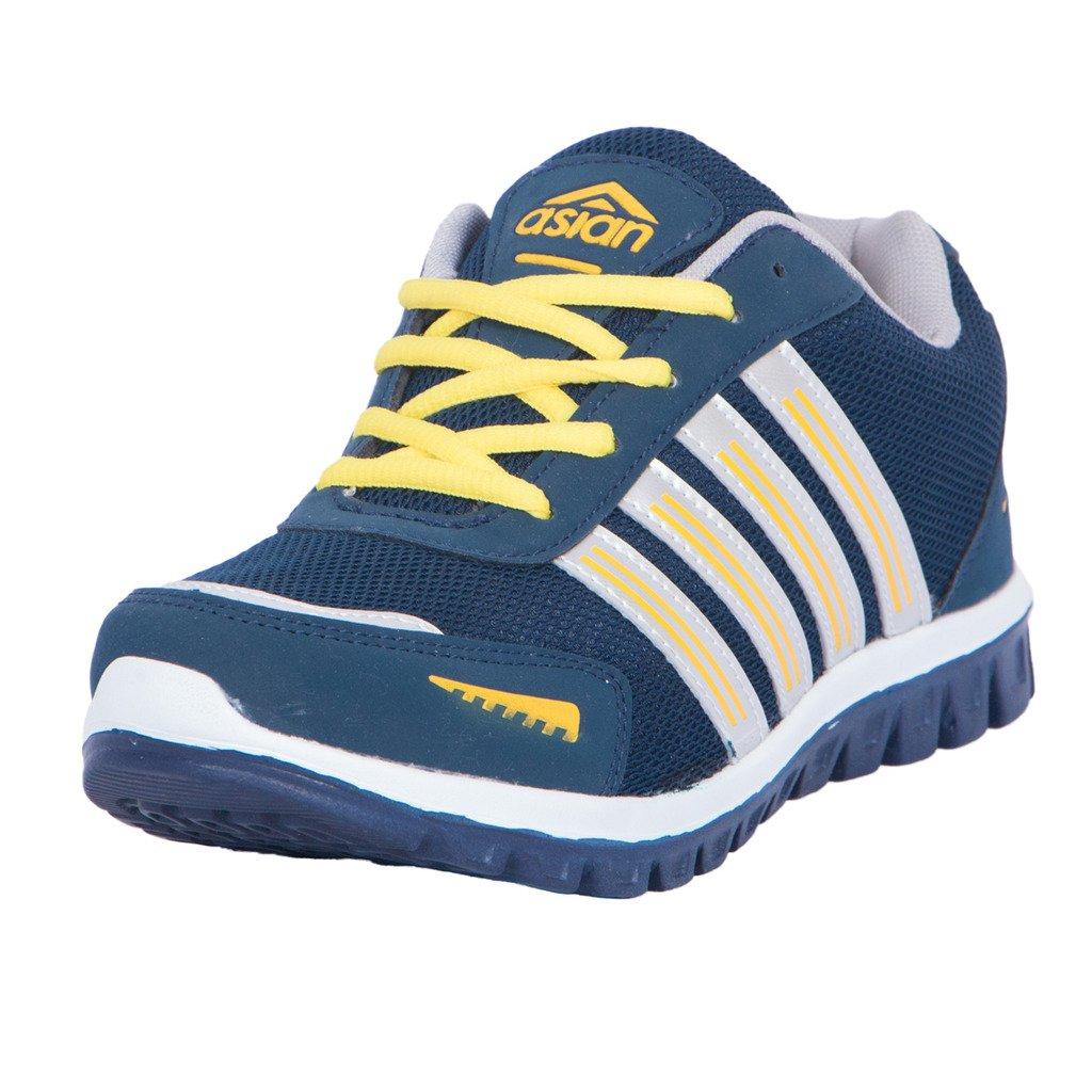 Navy Blue Yellow Running Shoes-10UK