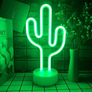 Ninboca Cactus LED Lights Neon Signs Cactus Neon Kids Night Lights with Pedestal Room Decor Battery USB Operation Cactus Lamps Neon Signs Light Up Children's Room Bedroom Halloween Party Christmas