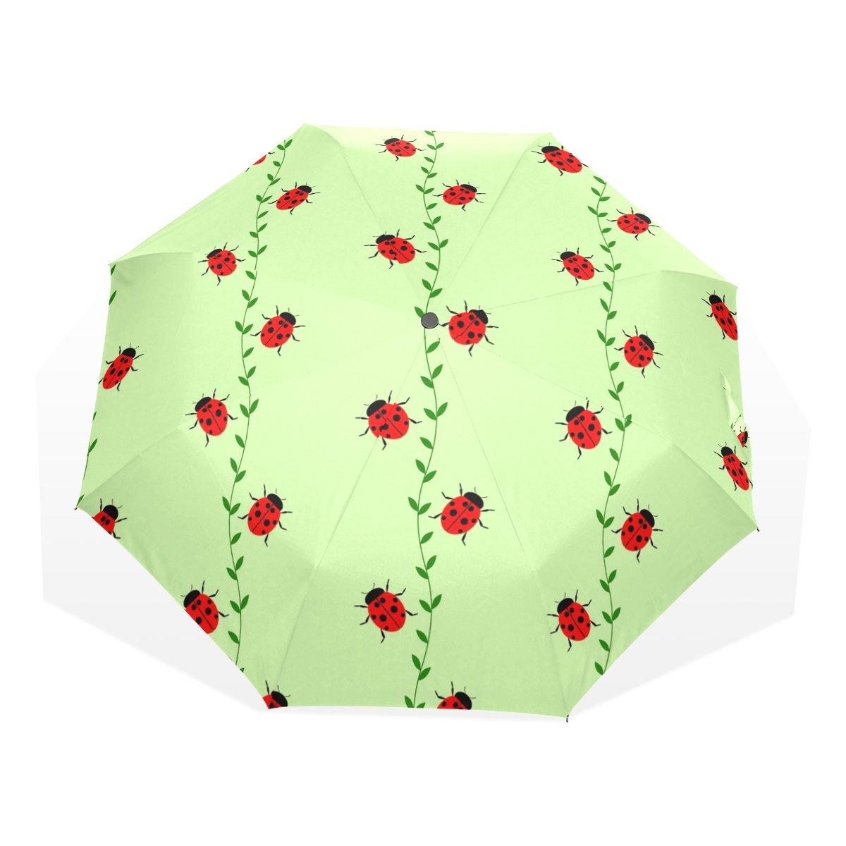 EZIOLY Little coccinelles Voyage Parapluie Pliable Compact Soleil et de la Pluie Protection Coupe-Vent Portable Parapluie pour Enfants Femmes Hommes