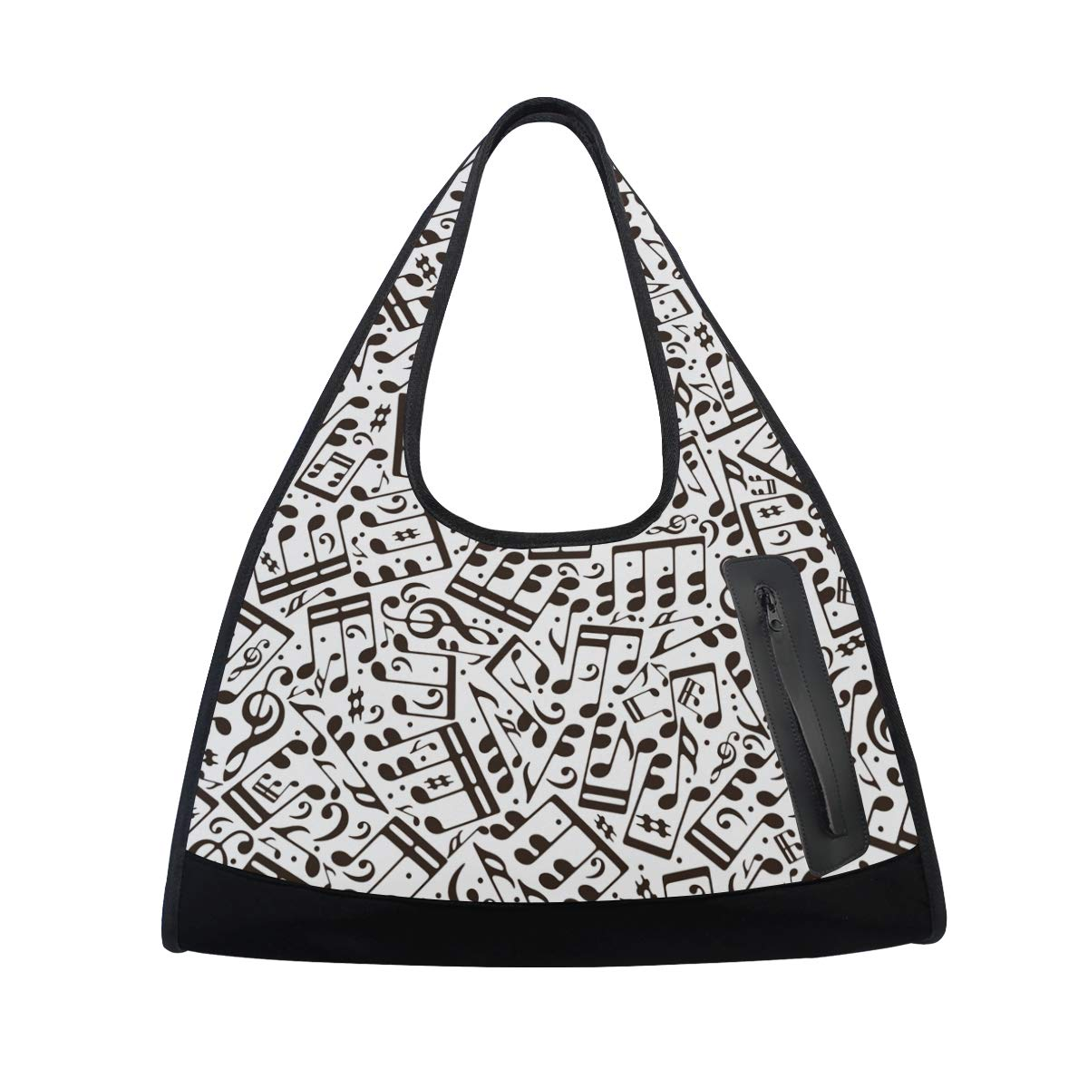 Gym Bag Sports Holdall Black And White Music Note Canvas Shoulder Bag Overnight Travel Bag for Men and Women