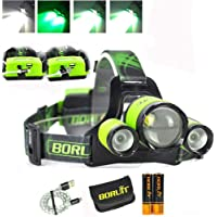 Upgrade Rechargeable Zoomable Headlamp, 4 Modes 5000 Lumen White Green LED Head Lights, 2X 2200mAh 18650 Batteries Power…
