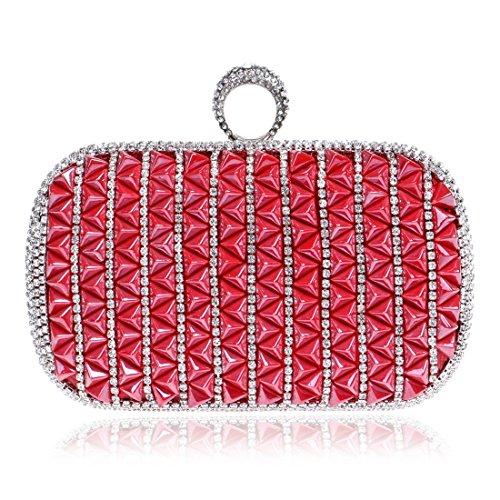 Clutch Ladies Small Handbag Dress Bag Evening Bag Color Shoulder Purse Diamond KERVINFENDRIYUN Square Bag Red Red 8pdwqIIn