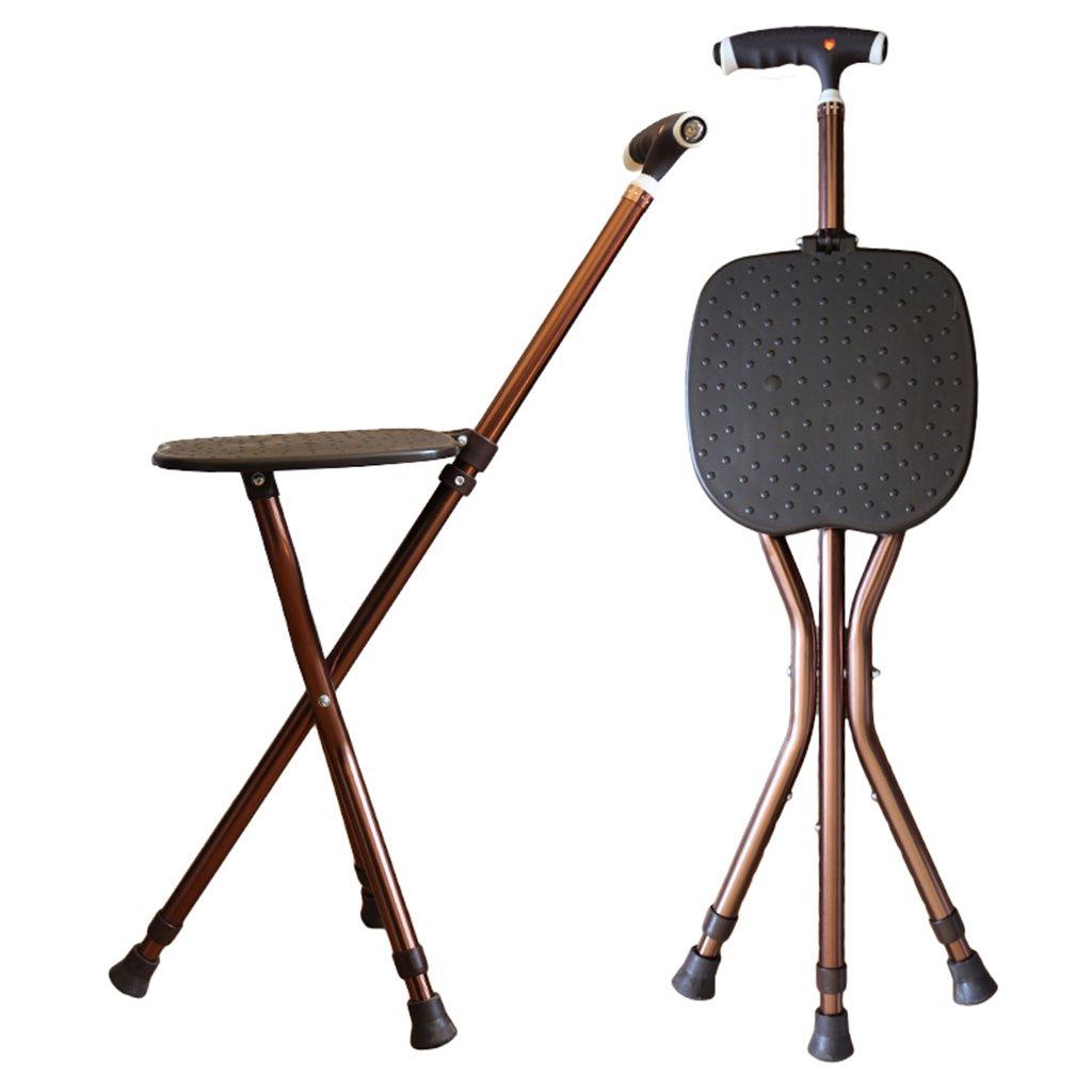 杖調節可能な折りたたみ式歩行椅子スツールマッサージシート付き歩行スティックポータブル釣りレッグスツールノーエル (版 ばん : With light) B07CVSGPLY   With light