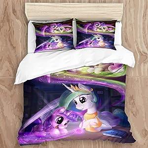 EILANNA Duvet Cover Set,3D Print My Little Pony,Friendship is Magic (4) Decorative 3 Piece Bedding Set with 2 Pillow Shams, Twin Size