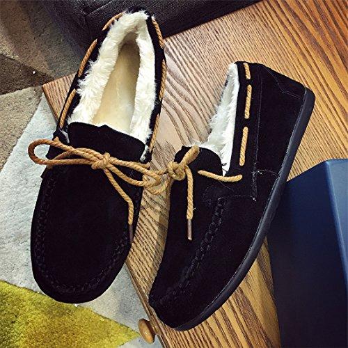 O & N Mujer Girls Suede Winter Cotton House Zapatos Slipper Interior Slip On Mocasines Negro