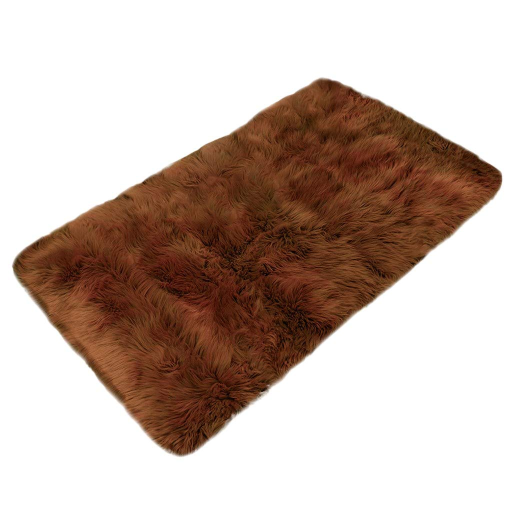Wool Imitation Sheepskin Rugs Faux Non Slip Bedroom Shaggy Carpet Mats by J&HO