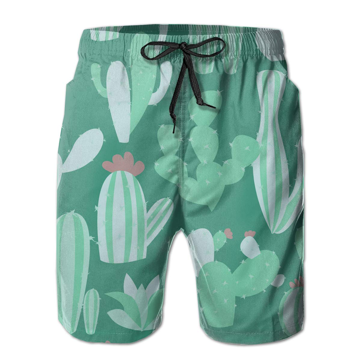 SARA NELL Mens Swim Trunks Cacti Pattern with Succulen Green Cactus Surfing Beach Board Shorts Swimwear