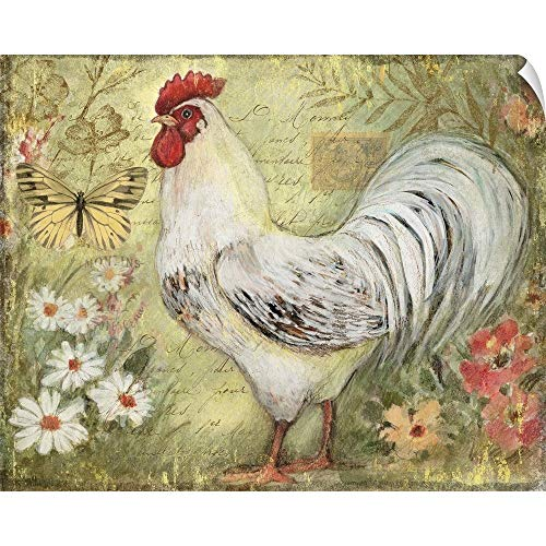 CANVAS ON DEMAND White Rooster Wall Peel Art Print, 48