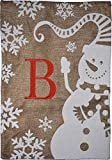 Cheap Home Garden Flag Monogram Winter Snowman Burlap Autumn Garden Flag 12.5 x 18 (B)