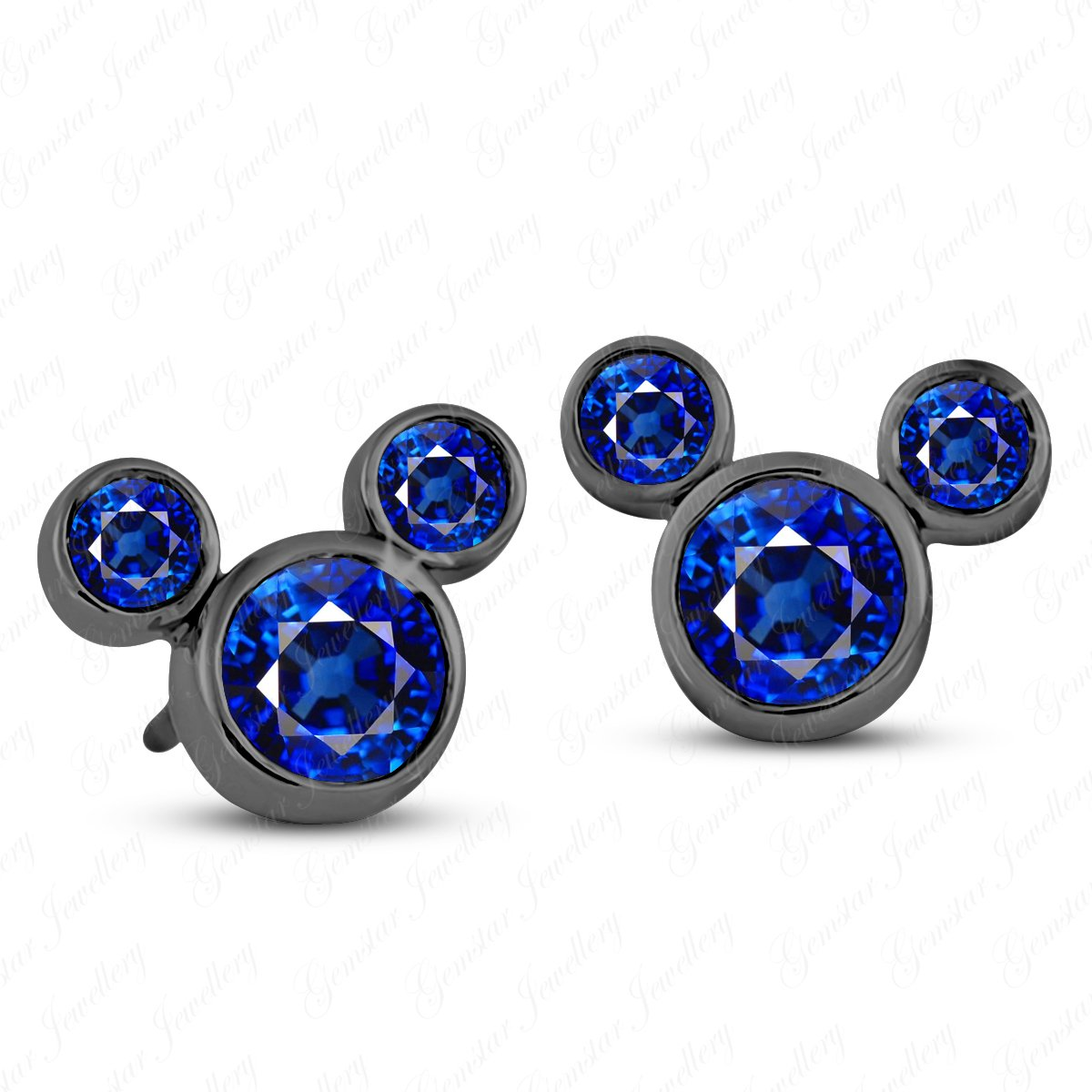 Gemstar Jewellery Disney Mickey Mouse Stud Earrings 14K Black Gold Finish Round Cut Blue Sapphire