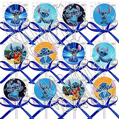 (Lilo &) Stitch ONLY Party Favors Supplies Decorations Movie Lollipops w/Blue Bows Party Favors -12 pcs: Toys & Games