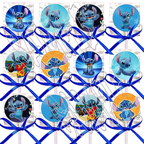 Petite Stitch - (Lilo &) Stitch ONLY Party Favors Supplies Decorations Movie Lollipops w/Blue Bows Party Favors -12 pcs
